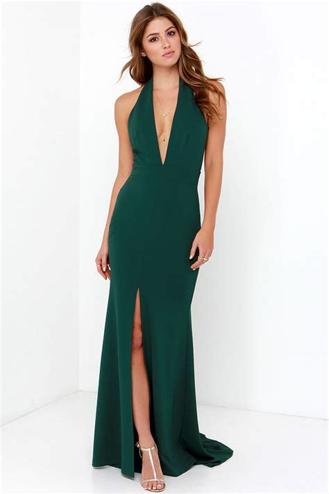Ll Halter Veve Green forest green gown halter dress backless dress maxi dress 112 00