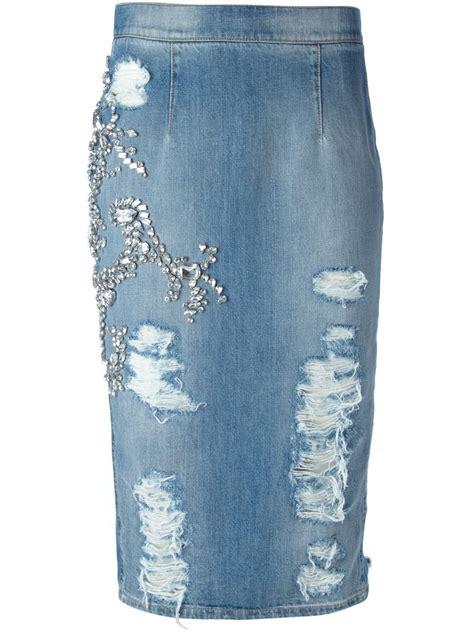 marco bologna distressed embellished denim skirt in blue