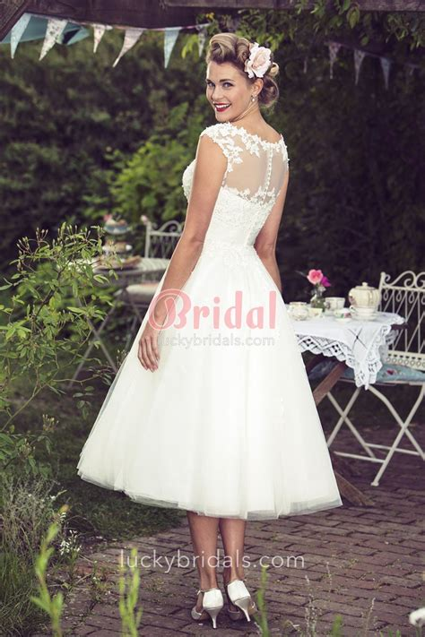 Wedding Hair For Cap Sleeve Dress by Tea Length A Line Illusion Cap Sleeve Lace And Tulle
