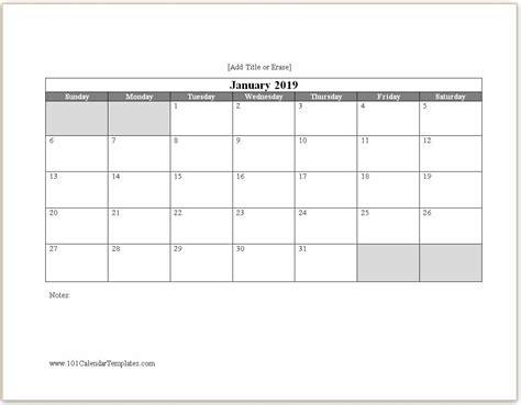 Word Calendar 2019 Microsoft Word Calendar Template 2019