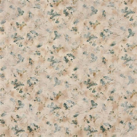 Butterfly Upholstery Fabric by F813 Green Gold White Pastel Butterfly Flower Upholstery