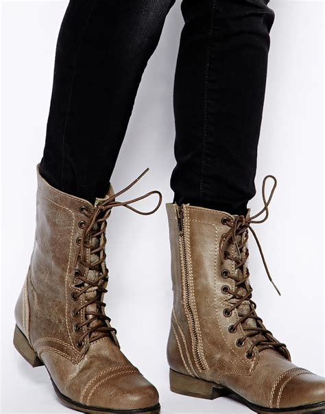 Steve Madden Troopa Boots by Steve Madden Troopa Lace Up Boots In Brown Lyst