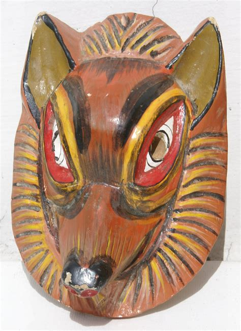 Handmade Animal Masks - wooden mask handmade in ecuador animal wood masks for