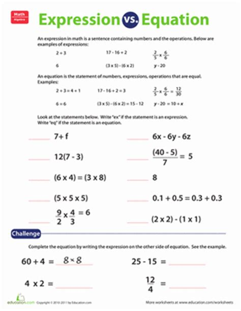 Expressions And Equations Worksheets by Expression Vs Equation Worksheet Education