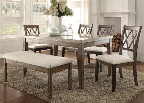 marvelous marble dining set 6 real marble top 71715 acme real marble dining set