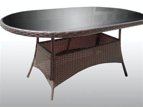 Rattan Patio Table All Weather Rattan Wicker Garden Patio Glass Oval Table