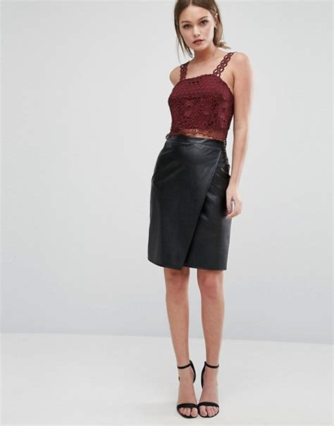new look new look leather look wrap front midi skirt
