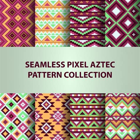 aztec pattern ai eight aztec patterns collection vector free download