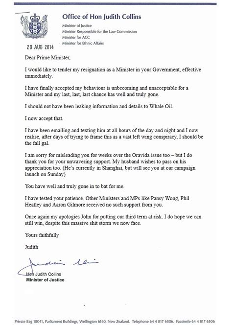 Letter Accepting Resignation Nz Judith Collins Resignation Shocks Stuff Co Nz