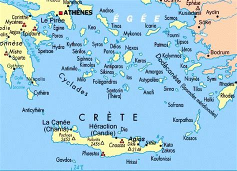 map   greek islands   aegean  ionian sea