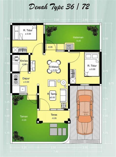 contoh gambar denah rumah minimalis type 36 terbaru