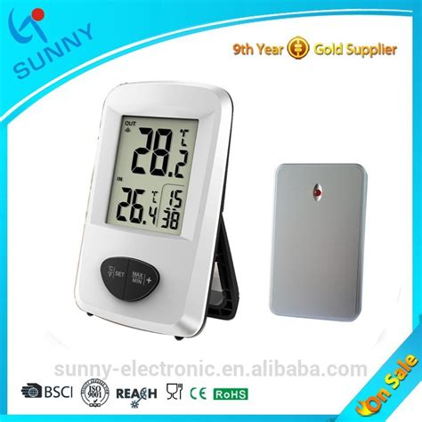 wireless room thermometer sale 433mhz wireless indoor outdoor temperature room digital thermometer with time