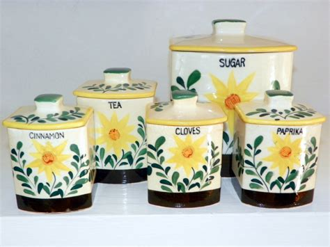 Sunflower Canister Sets Kitchen Vintage Canister Set Of 5 50s Nasco Sunflower Canisters