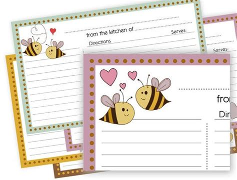 printable lined recipe cards bumble bee love 3x5 printable recipe cards lined by