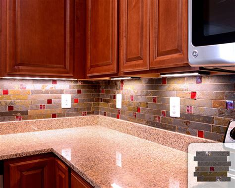 Red Glass Tile Kitchen Backsplash | rusty slate subway mosaic red glass kitchen backsplash