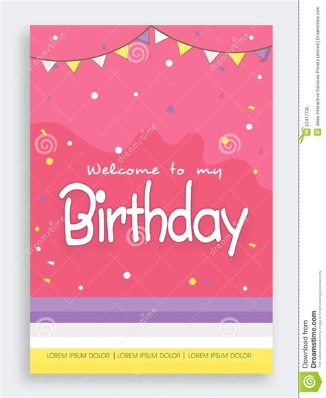 design invitation card for birthday party invitation card design for birthday party stock photo