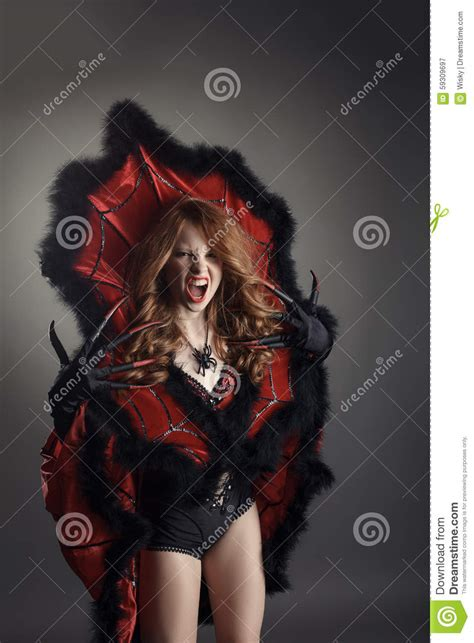 dressed as spider screaming dressed as spider stock photo image 59309697