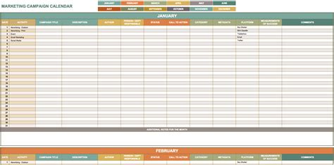 Promotional Calendar Template by 12 Month Promotional Calendar Template Templates