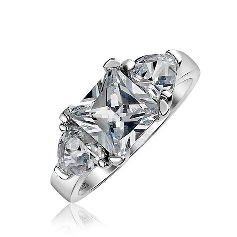 three princess cut cz anniversary engagement ring