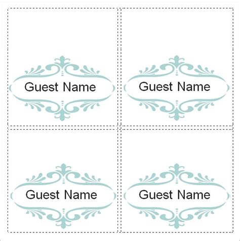 place card template 6 per sheet the letter sle