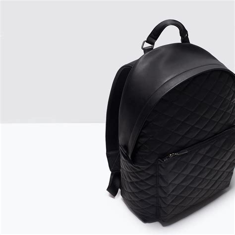 Zara Quilted Backpack zara quilted backpack in black for lyst