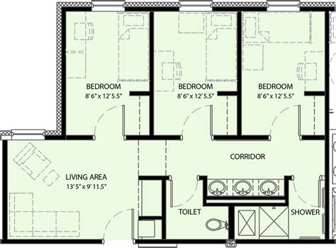 Three Bedroom Floor Plan | pricing and floor plan university commons university