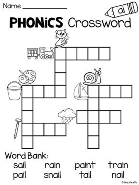 Brief Closing Words Crossword Ai Ay Worksheets And Activities No Prep Activities Crossword Puzzles And Phonics