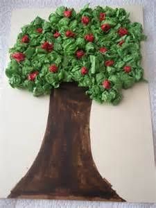 How To Make A Paper Tree For A Classroom - tissue paper apple tree a bit of this that