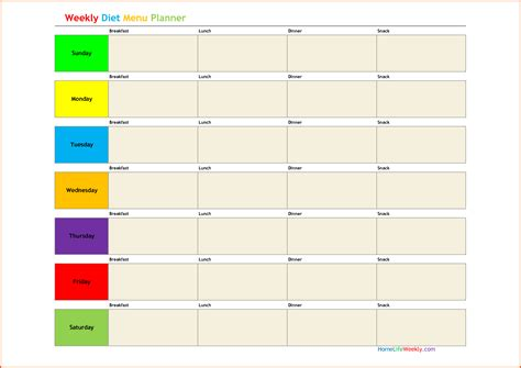 weekly diet template search results for slimming world week planner template