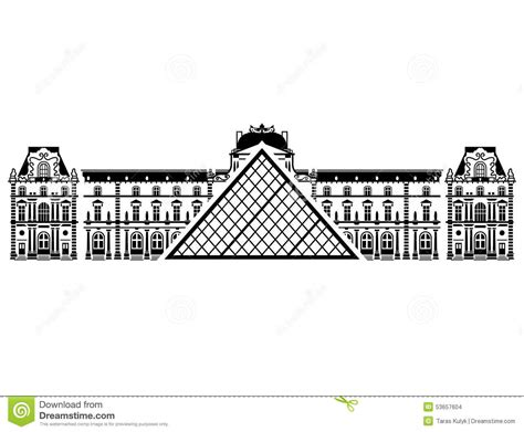 Louvre Museum Sections by Louvre Museum In Black And White Color Stock Vector