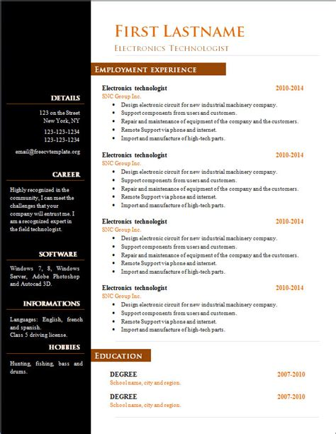 Free Resume Templates Open Office by Free Cv Template 303 To 309 Free Cv Template Dot Org