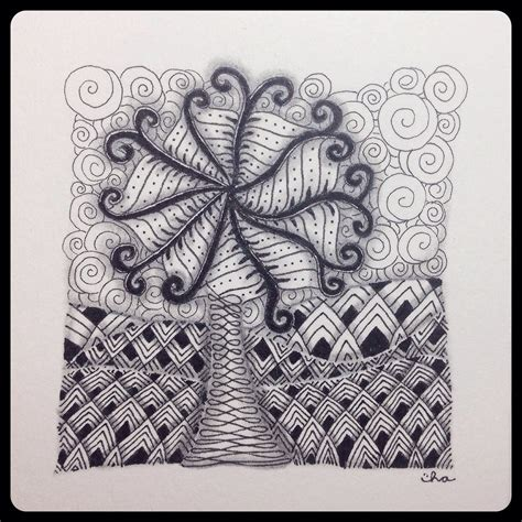 zentangle landscape tile branching