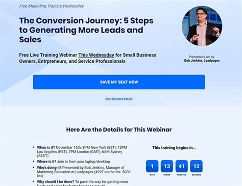 Leadpages Review Leadpages Webinar Template
