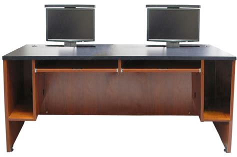 ds 7230 dual user desk two monitor lifts exact furniture
