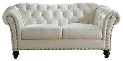 bonnie leather loveseat sofa ivory white traditional
