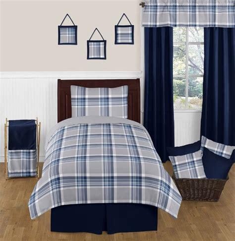 navy blue and gray bedding navy blue and grey plaid 4pc twin boys teen bedding set