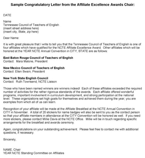 Recommendation Letter Exle Award Congratulation Letter Template For Excel Pdf And Word