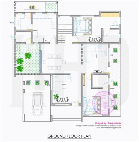 kerala home design ground floor plan all in one house elevation floor plan and interiors