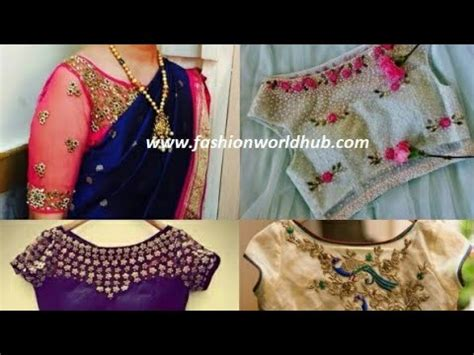 boat neck embroidery youtube latest aari maggam work on boat neck blouse designs