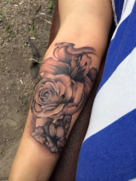 lilies and roses tattoos 1000 ideas about forearm flower on