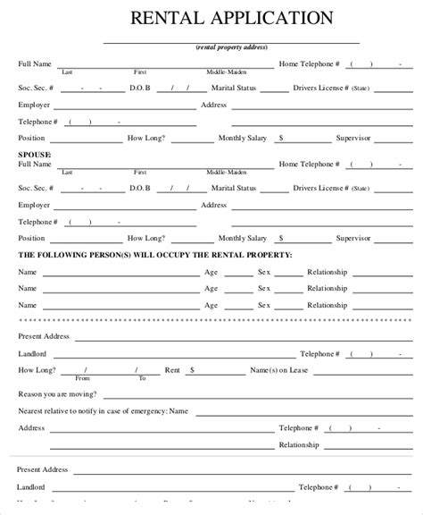 renters application form  template business