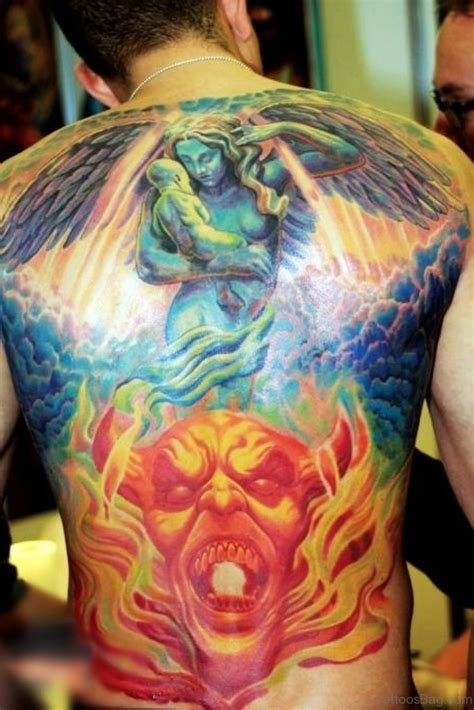 heaven and hell tattoos 70 fabulous religious tattoos for back