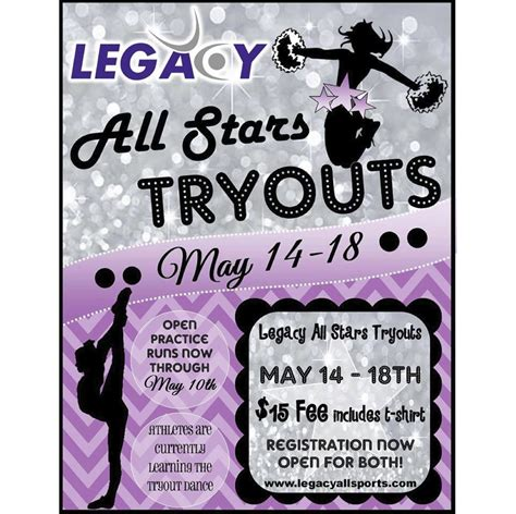 Join Us For The 2014 2015 All Star Season Legacy All Sports Free Cheerleading Tryout Flyer Template