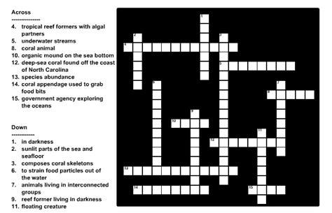 sea crossword noaa explorer education multimedia discovery missions lesson 3 sea