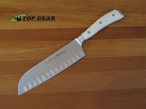 white kitchen knives wusthof classic ikon santoku knife with hollow edge 4176 17
