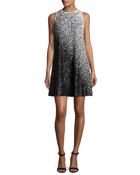 black sequin swing dress carmen marc valvo sleeveless ombre sequined swing dress