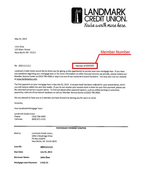 Loan Closing Letter To Bank Member Number Center Landmark Credit Union