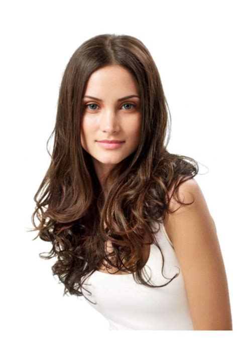 Hairclip Biglayer Semihuman Wavy Light Brown medium brown clip in hair extensions 100 indian remy hair