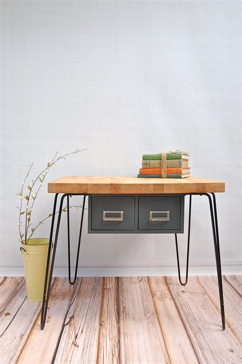 Hairpin Leg Desk Made With Ikea Butcher Block Surface | butcher block counter from ikea hairpin legs and make a