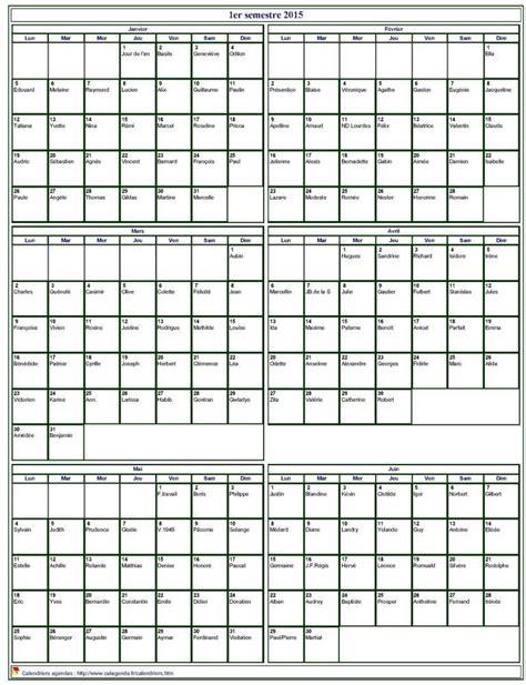 I Calendrier Semestre 2015 Calendrier 2015 224 Imprimer Semestriel Format Portrait